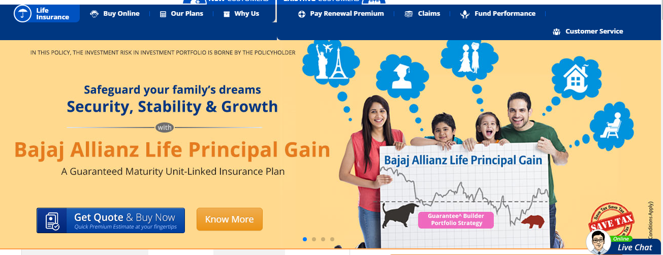 Bajaj Allianz Life Home page
