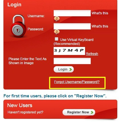 Canara HSBC forgot username option