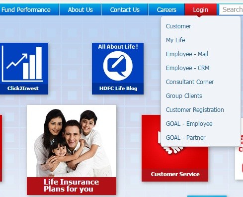 HDFC Life Login Page