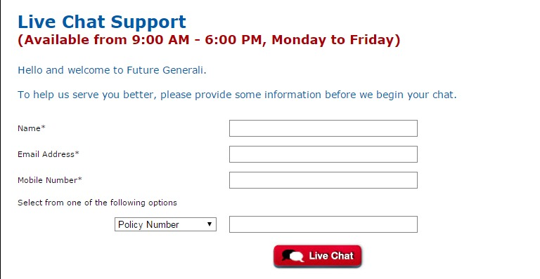 Future Generali Live Chat Support