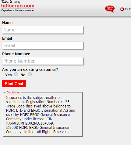 HDFC ERGO Chat Service