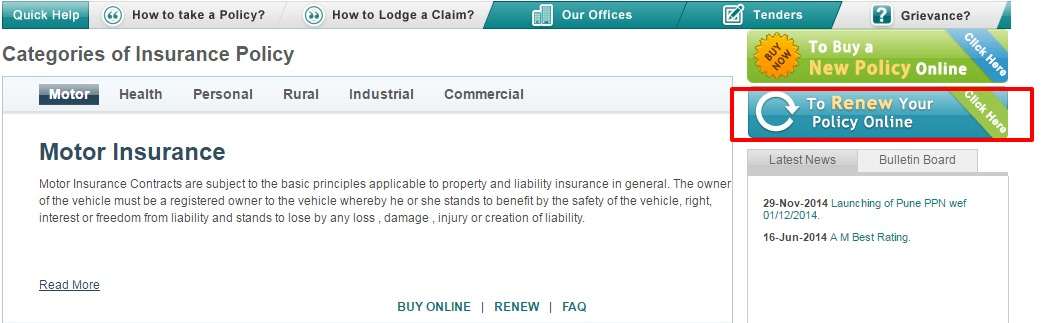 National Insurance Renew Policy Online
