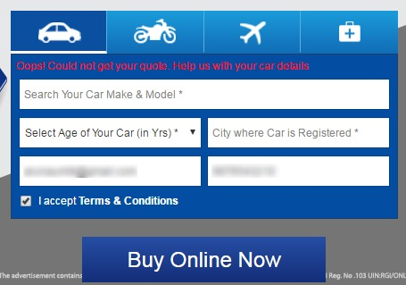 Reliance Forgot Car Num