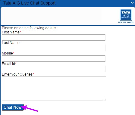 Tata AIG Live Chat Option