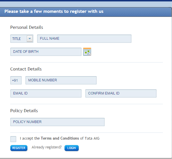 Tata AIG Registration Page